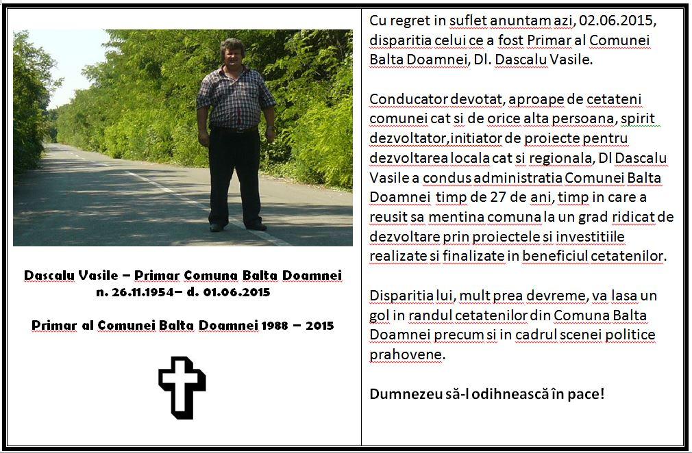 mesaj Primar Dascalu Vasile
